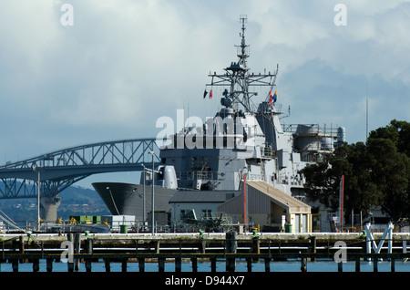 HMNZS Te Mana F111 in Devonport Naval Base, New Zealand - Stock Photo