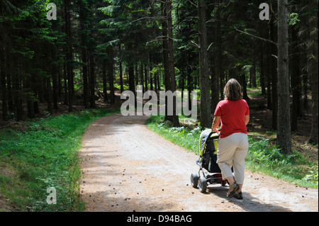 Mother with child in pram strolling in forest - Stock Photo