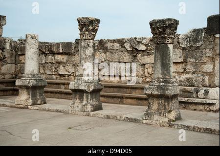 Capernaum ruins sea Galilee Israel - Stock Photo