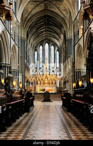 Worcester Cathedral, England. Looking east through the Choir to the High Altar - Stock Photo