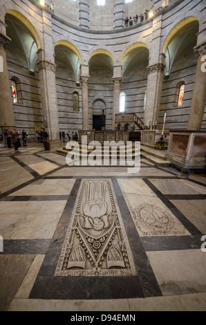 a view of the baptistery interiors in Pisa - Stock Photo