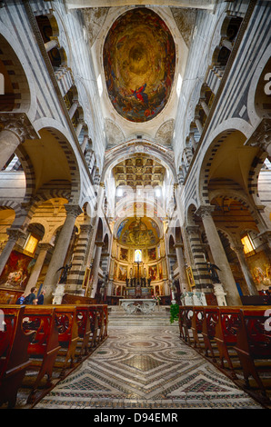 a view of the Duomo interiors in pisa - Stock Photo