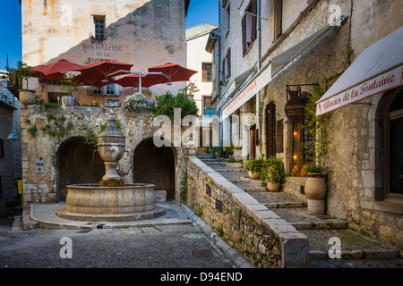 Town square on Rue Grand in Saint-Paul-de-Vence - Stock Photo