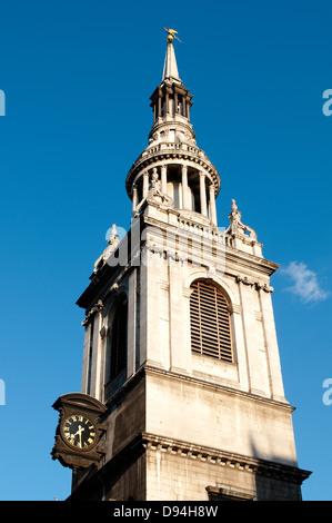 St Mary le Bow Church on Cheapside, London, UK - Stock Photo