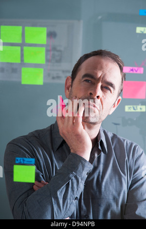 Businessman Looking at Self Adhesive Notes on Glass Board in Studio