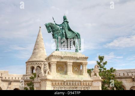 Statue of St. Steven's in Budapest. - Stock Photo