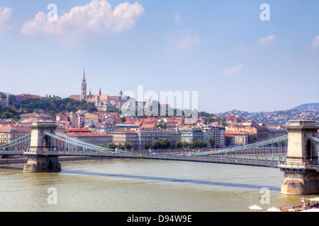 View of Chain Bridge and the Castle area in Budapest, Hungary. - Stock Photo