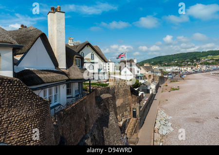 Sidmouth, Devon, England. June 10th 2013. Sidmouth town and sea front with some beach front thatched houses. - Stock Photo