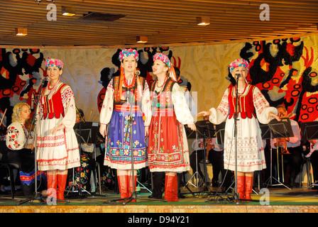 Ukrainian folklorico show at a restaurant in the seaport city of Yalta, Crimea on the Black Sea. - Stock Photo
