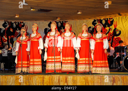 Ukrainian folklorico show at a restaurant in the seaport city of Yalta, Crimea on the Black Sea. - Stock Photo