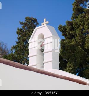 Little chapel detail in Mykonos, Greece, in a sunny day.