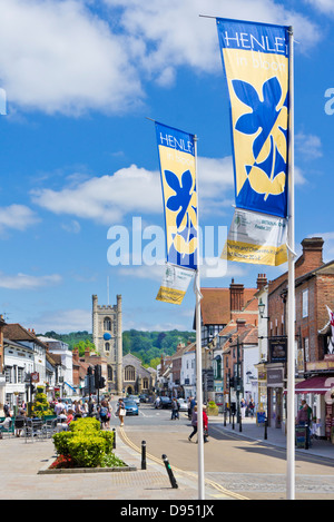 Shops cafes and businesses in the Market Place Hart street Henley-on-Thames Oxfordshire England UK GB EU Europe - Stock Photo