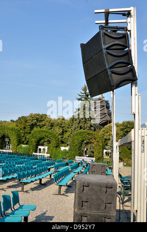 outdoor concert speakers. speakers at outdoors concert - stock photo outdoor l
