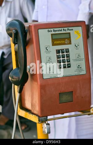 Asia, India, Karnataka, Belur, public telephone - Stock Photo