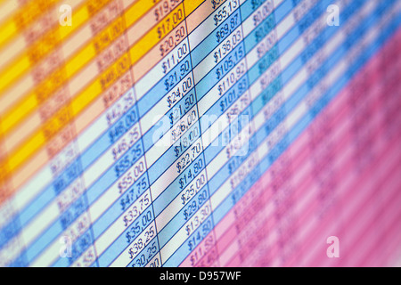 The financial statements on the screen close up background Stock Photo
