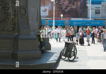 Under monument of Ban Josip Jelacic, Jelacic square, Zagreb, Croatia, Europe - Stock Photo