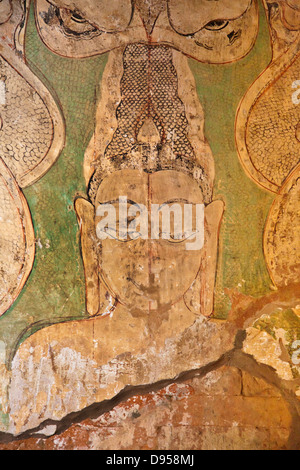 Original FRESCOS on the walls of SULAMANI PHATO which was completed by King Narapatisithu in 1211 AD - BAGAN, MYANMAR - Stock Photo