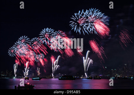 Macy's 4th of July Fireworks on Hudson River - Stock Photo