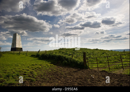 A Sea Mark used for maritime navigation on Ashey Down on the Isle of Wight, UK - Stock Photo