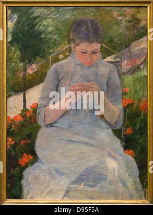 Mary Cassatt Jeune fille au jardin aka Femme cousant - Girl in garden aka Woman sewing 1880-1882 XIX th Century - Stock Photo