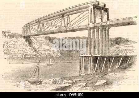 Wrought iron tubular trussed bridge over the river Wye at Chepstow, c1885.  This bridge, constructed 1849-1852, - Stock Photo