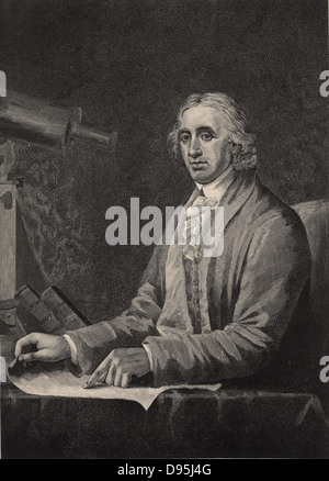 David Rittenhouse (1732-1796), American astronomer and inventor.  He introduced spider's web as cross-hairs in telescopes - Stock Photo