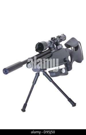 Sniper rifle floating on white background - Stock Photo