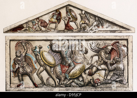 sarcophagus depicting battle This relief fragment depicts two of hercules' labours the battle with the multi- headed hydra on the left and on the right having killed the boar of erymanthea,.
