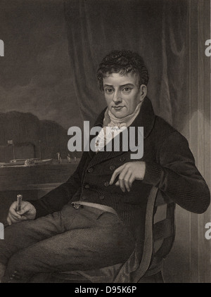 Robert Fulton (1765-1815) American engineer and inventor born in Lancaster County, Pennsylvania.  His steamboat - Stock Photo
