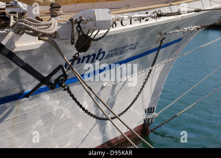 Bow of sailing ship advertising the Maritime Museum in the harbour at Barcelona. Catalonia. Spain - Stock Photo