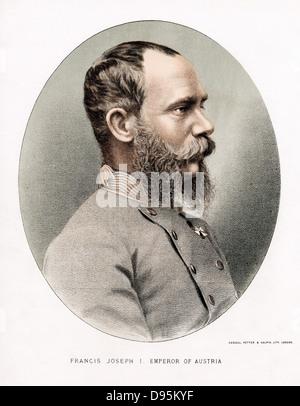 Francis Joseph I (Franz Joseph) 1830-1916. Emperor of Austria from 1848. Tinted lithograph c1880 - Stock Photo