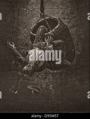 Accident in a mine shaft caused by the engine man at the pit head starting the movement of the rope too sharply - Stock Photo