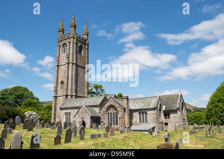 St Pancras Church. Widecombe in the Moor. Dartmoor National Park, Devon, England - Stock Photo