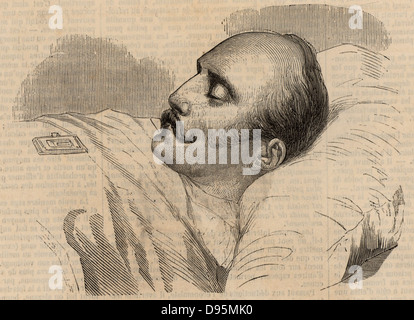 Nicholas I (1796-1855) Emperor (Tsar) of Russia from 1825. Nicholas on his deathbed. Wood engraving from ''Illustration' - Stock Photo