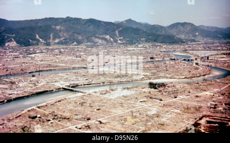 Hiroshima after the dropping of the atom bomb in August 1945. USAF photograph. - Stock Photo