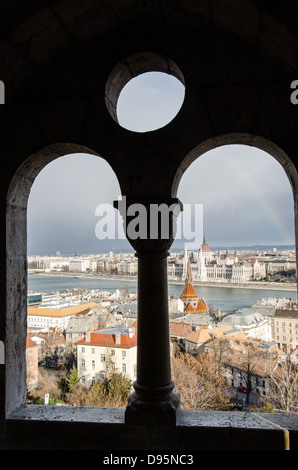 View from Fisherman's Bastion Budapest over Danube towards Pest - Stock Photo