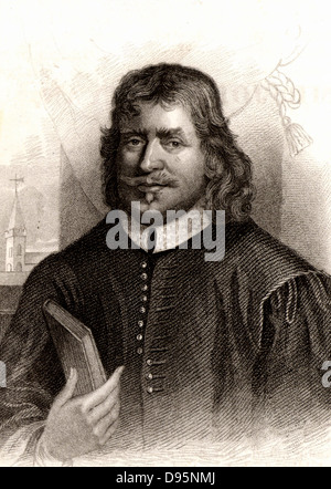 John Bunyan (1628-1688) English Puritan preacher.  Author of 'The Pilgrim's Progress' (London, 1678). Engraving, - Stock Photo
