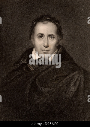 Allan Cunningham (1784-1842) Scottish poet and man of letters. Engraving 1833. - Stock Photo