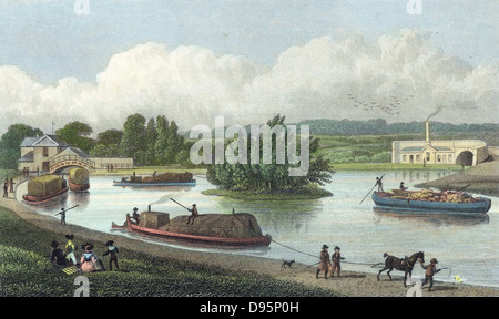 Junction of Regent's Canal at Paddington Basin, London. Hand-coloured engraving after TH Shepherd from 'London and - Stock Photo