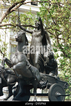 Boudicca (Boadicea) 1st century British queen of Iceni who led uprising against Romans. Statue of Boudicca and her - Stock Photo