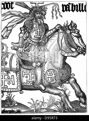 Godfrey de Bouillon (c1060-1100) French crusader wearing the symbols of Christ's passion in his helmet during the - Stock Photo
