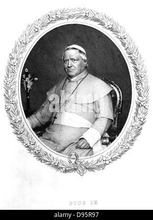 Pius IX (Giovanni Maria Mastai Ferretti - 1792-1878) Pope from 1846. Engraving after a photograph. - Stock Photo