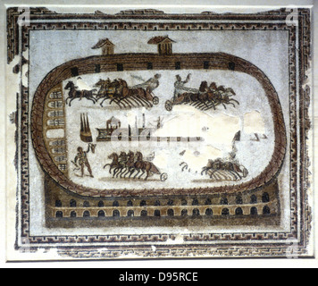 Roman mosaic, 2nd century AD. Games in the arena - Chariot race.  Bardo Museum, Tunisia. - Stock Photo