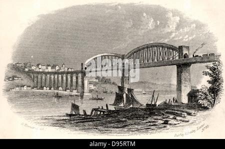 The Royal Albert Bridge (Viaduct) at Saltash.  The Bridge carrying the railway over the estuary of the Tamar at - Stock Photo