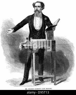 Charles Dickens (1812-70) giving his last public reading at St James's Hall, London 5 March 1870. He read extracts - Stock Photo