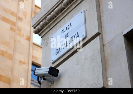 security cctv cameras on placa de catalunya barcelona catalonia spain - Stock Photo