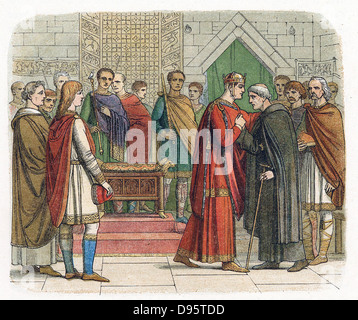 William I, The Conqueror (1027-87) King of England from 1066. William receiving the English leaders c1067. Colour - Stock Photo
