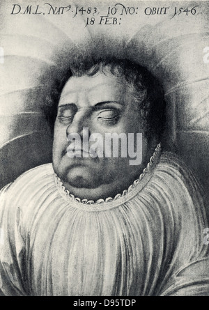Martin Luther (1483-1546) German Protestant reformer, on his deathbed. - Stock Photo