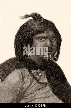 A woman from Prince William's Sound, Alaska. Engraving from 'Captain Cook's Original Voyages Round the World' (Woodbridge, - Stock Photo