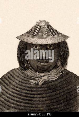 A man from Prince William's Sound, Alaska. Engraving from 'Captain Cook's Original Voyages Round the World' (Woodbridge, - Stock Photo